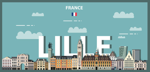 Fototapete - Lille cityscape colorful poster. Vector detailed illustration