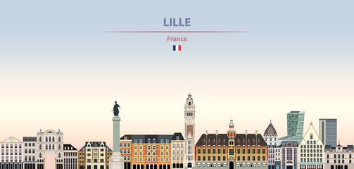 Fototapete - Vector illustration of Lille city skyline on colorful gradient beautiful daytime background
