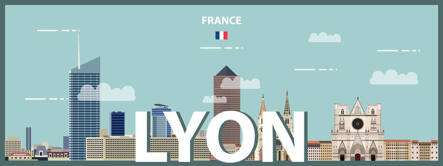 Wall Mural - Lyon cityscape colorful poster. Vector detailed illustration