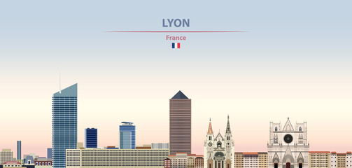Fototapete - Vector illustration of Lyon city skyline on colorful gradient beautiful daytime background