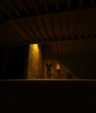 3d illustration of Survivor woman and man in a dark place,Horror movie scene