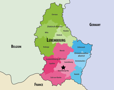 map of Luxembourg cantons colored by districts, with neighbouring countries. Vector illustration