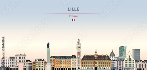 Fototapete Vector illustration of Lille city skyline on colorful gradient beautiful daytime background