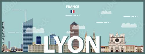 Fototapete Lyon cityscape colorful poster. Vector detailed illustration
