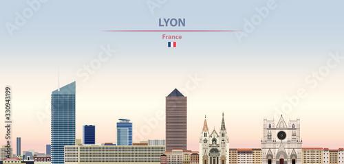 Fototapete Vector illustration of Lyon city skyline on colorful gradient beautiful daytime background