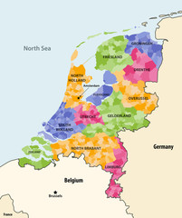Fototapete - Netherlands local municipalities colored by provinces map with neighbouring countries and terrotories. Vector