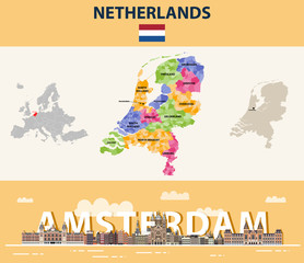Fototapete - Netherlands local municipalities map colored by provinces. Amsterdam cityscape colorful poster. Vector illustration