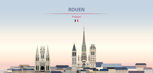 Fototapete - Vector illustration of Rouen city skyline on colorful gradient beautiful daytime background