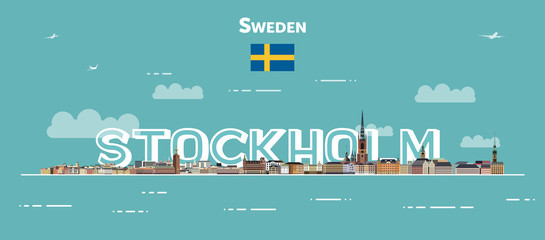 Wall Mural - Stockholm cityscape colorful poster. Vector detailed illustration