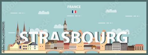 Fototapete Strasbourg cityscape colorful poster. Vector detailed illustration
