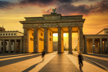 Aluminium Prints Berlin The Brandenburg Gate in Berlin at sunset, Germany