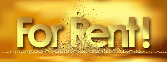 For Rent in golden stars background