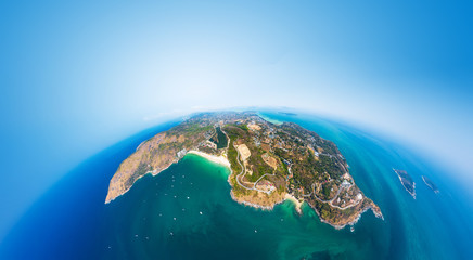 Wall Mural - Aerial view of the coastline of Phuket island in the form of a little planet. Thailand