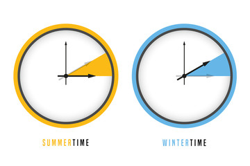 summer and winter time clock daylight saving vector illustration EPS10