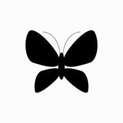Photo sur Aluminium Papillons dans Grunge Butterfly insect black silhouette animal. Vector