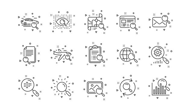 Indexation, Artificial intelligence and Car rental. Search line icons. Search images linear icon set. Geometric elements. Quality signs set. Vector