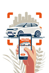 Buying and selling transport online via the internet using a mobile app. Take a photo and put an announcement on the site.