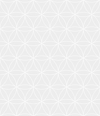 Abstract geometric vector seamless pattern. White crossing circles on grey background. Abstract floral pattern in arabic style. Vector illustration. Simple design for fabric, wallpaper, scrapbooking