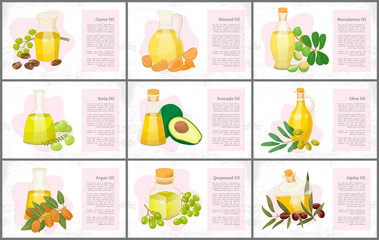 Hair oils banners, plants and nuts, oily seeds vector. Skin care and hairs health, organic cosmetics, castor and macadamia. Olive and coconut, avocado and grapeseed, almond and amla illustration