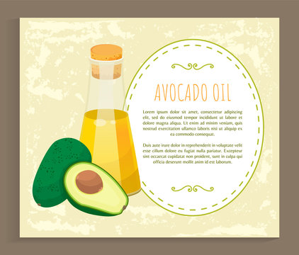 Avocado oil postcard with recipe template icon. Glass bottle of vitamin liquid and half of fresh green food. Card with text hair treatment and natural cosmetic symbol isolated on white vector