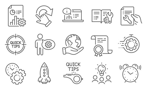 Set of Technology icons, such as Tutorials, Cogwheel. Diploma, ideas, save planet. Repair document, Tips, Online documentation. Engineering documentation, Seo timer, Rotation gesture. Vector