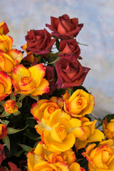 Tuinposter Lelie Bouquet and yellow and red bush roses on a blue background.