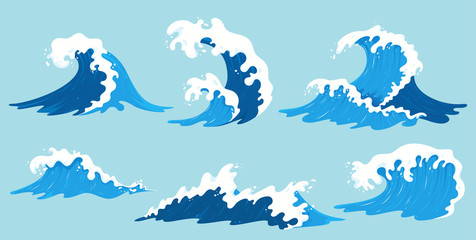 Vector sea waves collection. Illustration of blue ocean waves with white foam. Isolated water splash set in cartoon style. Element for your design. Fotomurales
