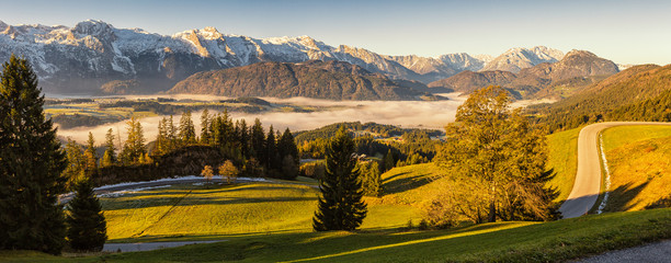 Foto auf Leinwand Honig Morning fog in the valley in the Austrian Alps