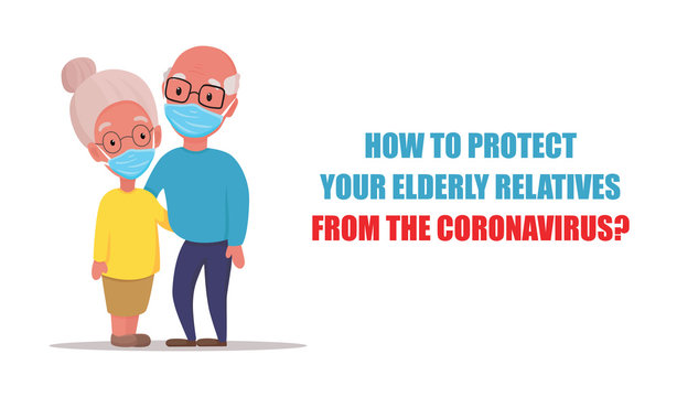 Older people in medical face mask. Grandparents wearing a surgical mask to protect from coronavirus (COVID-2019). Vector flat cartoon illustration.