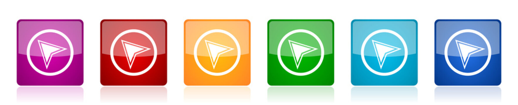 Navigation icon set, colorful square glossy vector illustrations in 6 options for web design and mobile applications