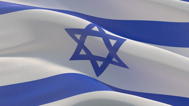 Waving flags of the world - flag of Israel. 3D illustration.