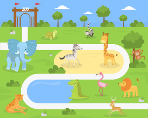 Wild Animals of Savanna and Desert in the Zoo, African Wildlife on Summer Landscape Vector illustration