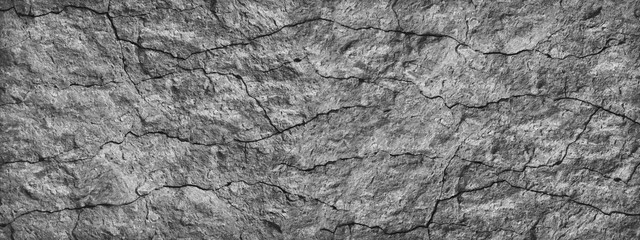 Cracked stone surface. Close-up. Gray abstract grunge background. Banner with gray rock texture. Copy space. Fotobehang