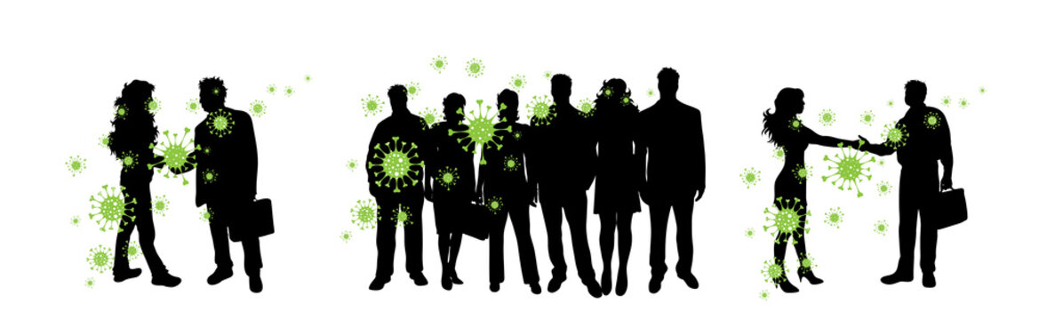 Vector silhouette of group of people who is spreading bacteria on white background. Symbol of disease and coronavirus.