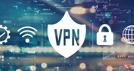 VPN concept with blurred city abstract lights background