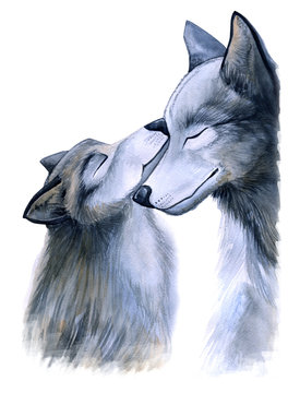 mother love. Mom wolf and little wolf hugs, watercolor illustration, cartoon animals