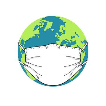 Earth globe wearing medical face mask. Coronavirus pandemic, Worldwide spread of disease concept