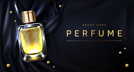 Perfume bottle on black silk folded fabric background. Glass flask with gold liquid and scattered pearls. Scent fragrance package design mockup, beauty cosmetic banner Realistic 3d vector illustration
