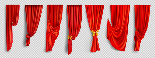 Red window curtains set, folded cloth for interior decoration realistic vector isolated on transparent background. Soft scarlet clear material, fabric drapery of different form golden pin illustration Fototapete