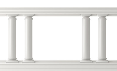 Antique columns, stone pillars frame balustrade isolated. Ancient figured elements connected at top with railing or horizontal beam. Roman or greece architecture. Realistic 3d vector illustration.