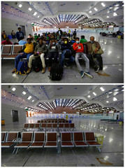 A combination picture shows passengers activity at Najaf airport in Najaf