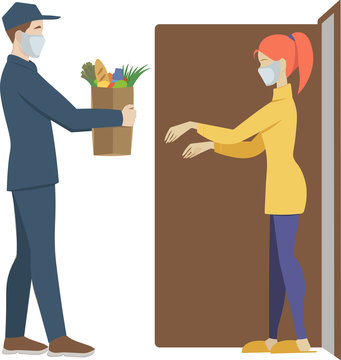 Home Delivery. Vector flat illustration.