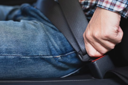 close up hand and safety belt