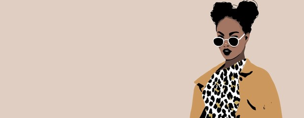 African woman background sketch with afro hair, fashion background Wall mural