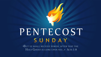 Pentecost Sunday banner with Holy Spirit in flame. Template invitation for Pentecost day with dove in tongues fire and text Acts 1:8. Vector illustration