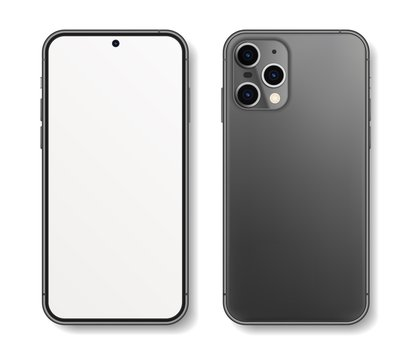 New realistic smartphone at different angles. High Detailed Vector mockups. Mobile phone isolated on white background. Device Mockup Separate Groups and Layers. Easily Editable EPS 10.