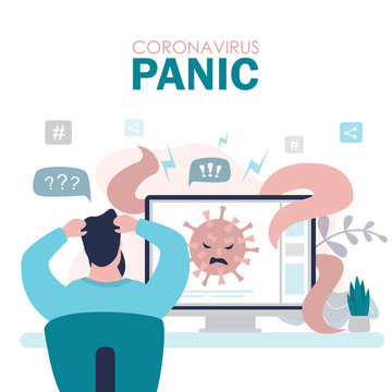 Coronavirus panic concept banner. A man watches news about a new virus and is afraid of infection.