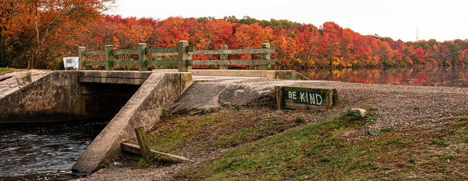 Be Kind written by the waterfall in Autumn at Southards Pond