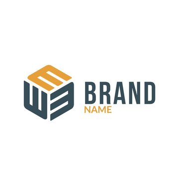 Letter E / M Hexagonal Box Logo
