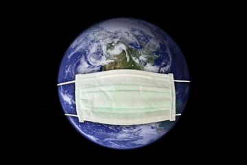 Planet earth sick wearing a surgical mask. New coronavirus, covid-19 worldwide epidemic crisis concept - Elements of this image furnished by NASA.